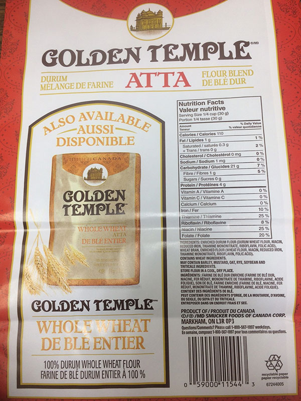 Golden Temple brand Durum Atta Flour Blend 9 kilograms back