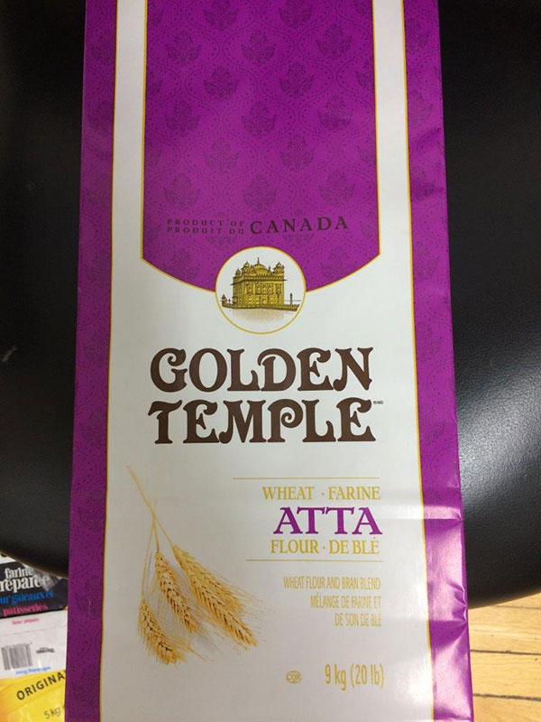 Golden Temple brand Atta Wheat Flour 9 kilograms front