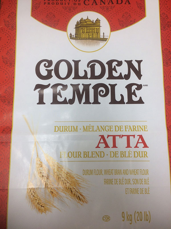 Golden Temple brand Durum Atta Flour Blend 9 kilograms front