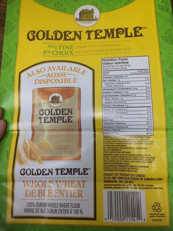 Golden Temple brand No 1 Fine Durum Atta Flour Blend 9 kilograms back