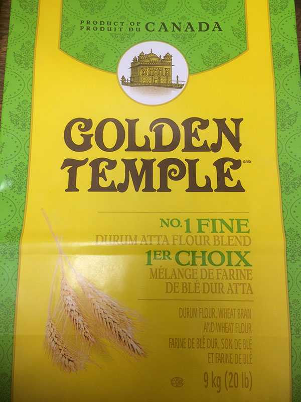 Golden Temple brand No 1 Fine Durum Atta Flour Blend 9 kilograms front