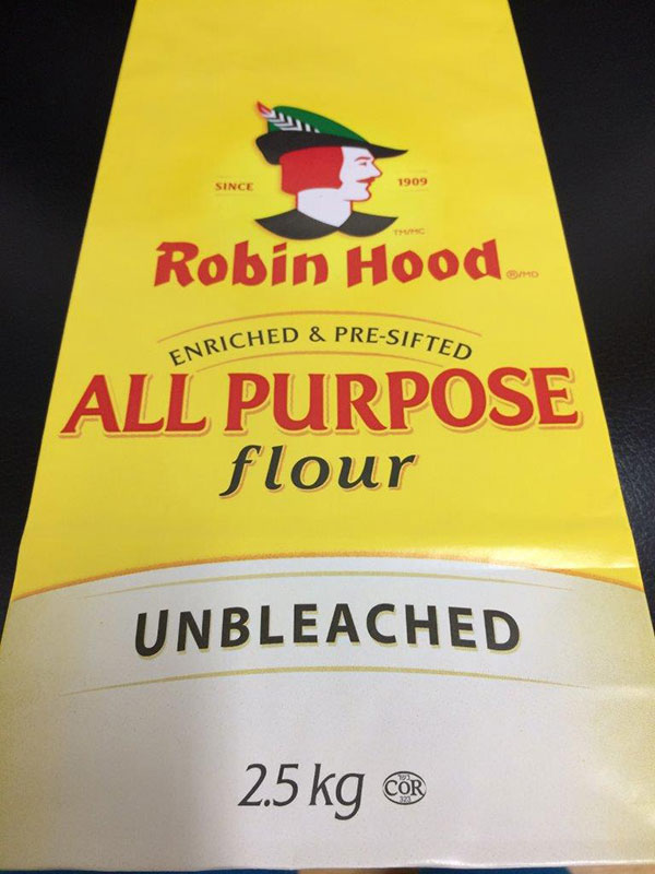 Robin Hood brand All Purpose Flour Unbleached 2.5 kilograms
