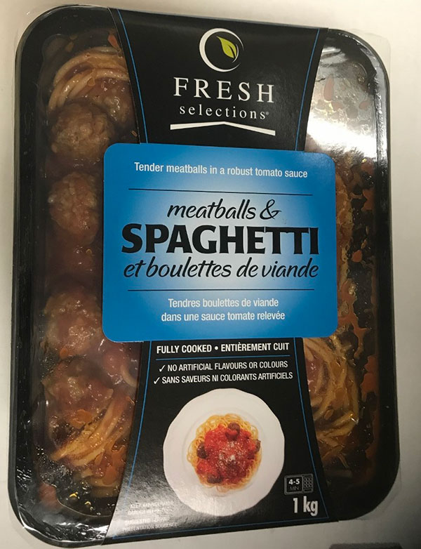 Fresh Selections Meatballs and Spaghetti