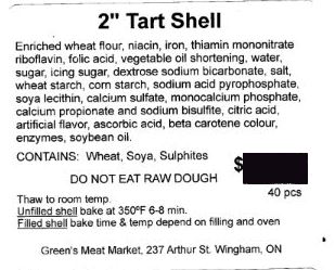 "Green's Meat Market - 2"" Tart Shell"