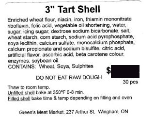 "Green's Meat Market - 3"" Tart Shell"