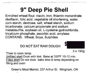"Green's Meat Market - 9"" Deep Pie Shell"