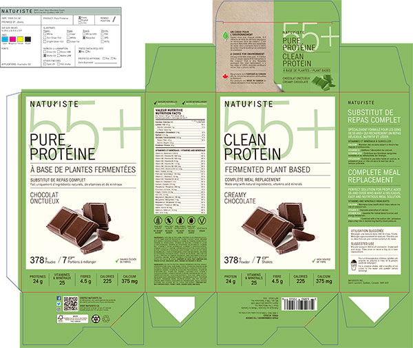 Naturiste 55+ Clean Protein Complete Meal Replacements - Creamy Chocolate - 378 grams