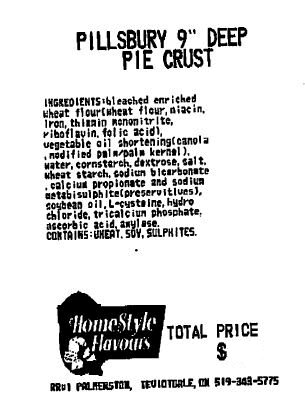 "HomeStyle Flavours - Pillsbury 9"" Deep Pie Crust"