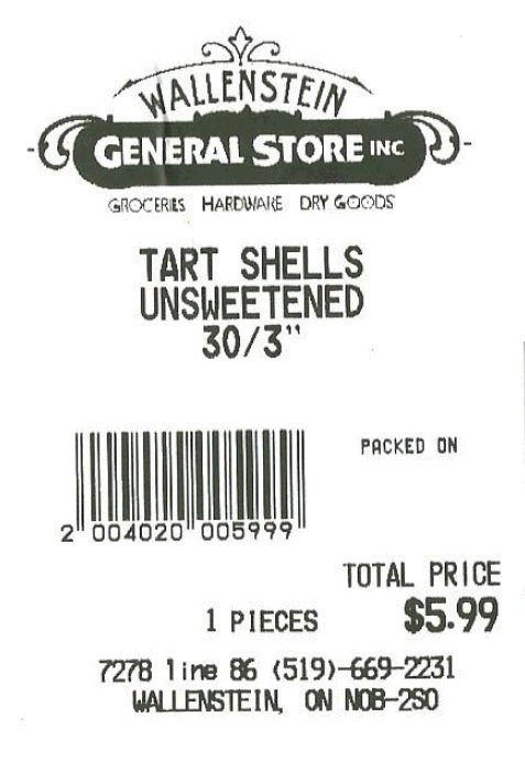 Wallenstein General Store Inc. - 3 inch unsweetened tart shells