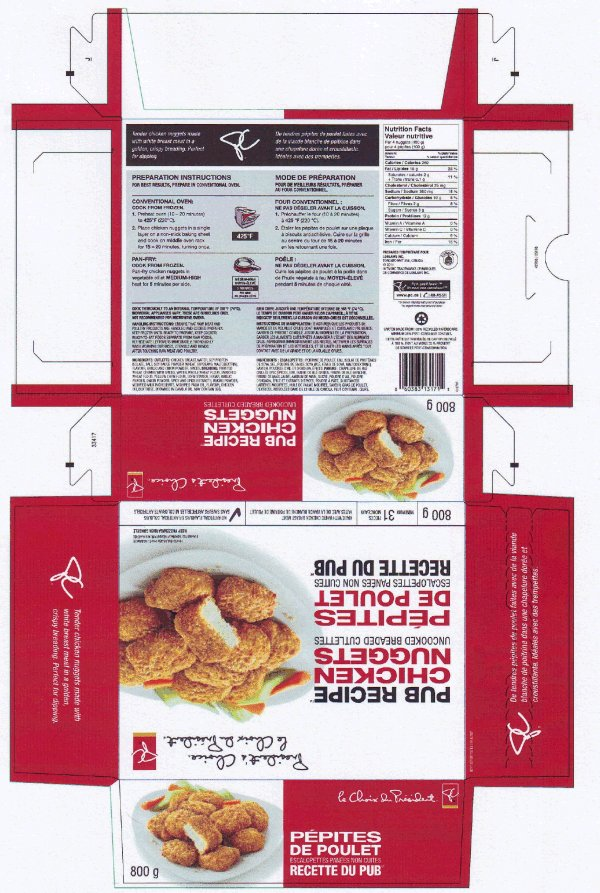 President's Choice - Pub Recipe Chicken Nuggets – Uncooked Breaded Cutlettes