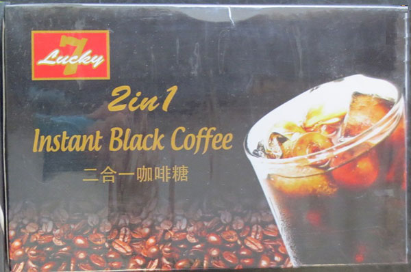 Lucky 7, 2 in 1 Instant Black Coffee - Front