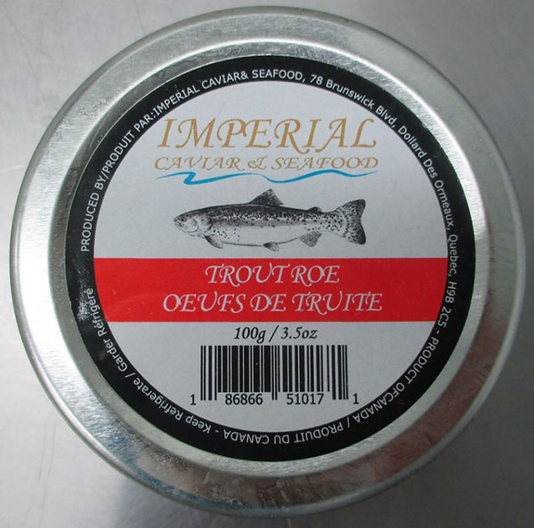 Imperial Caviar and Seafood brand Trout Roe, 100 grams
