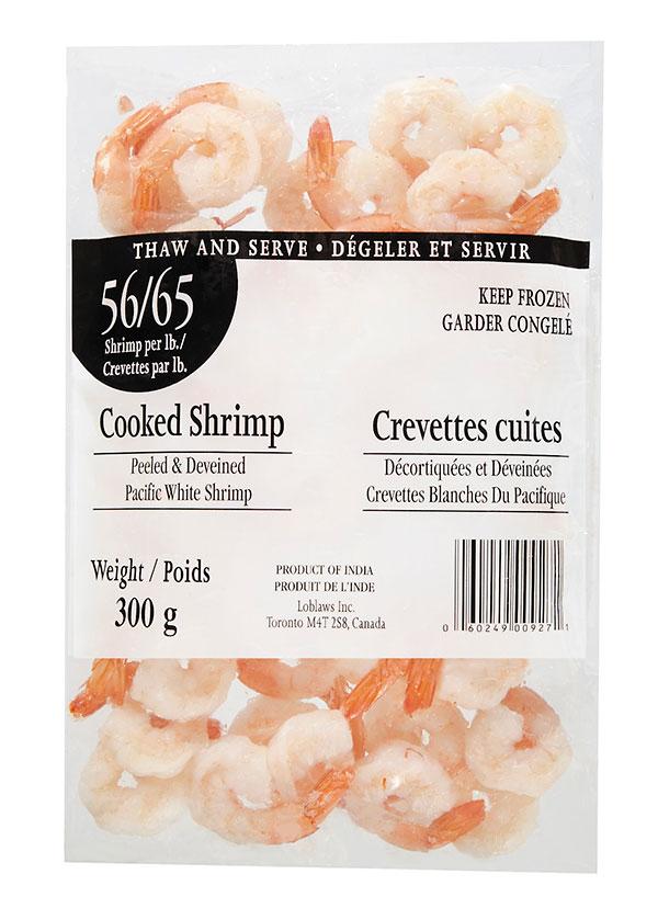 Certain pre-packaged Cooked Shrimp (56/65 Shrimp per lb