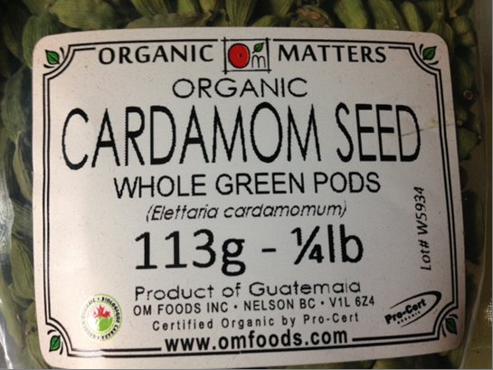 Organic Cardamom Seed Whole Green Pods - 113 grams