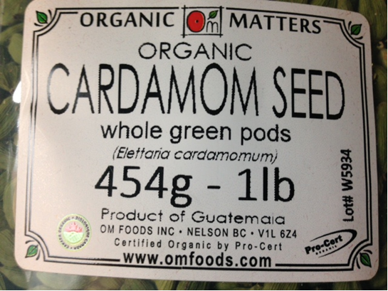 Organic cardamom seed whole green pods - 454 grams