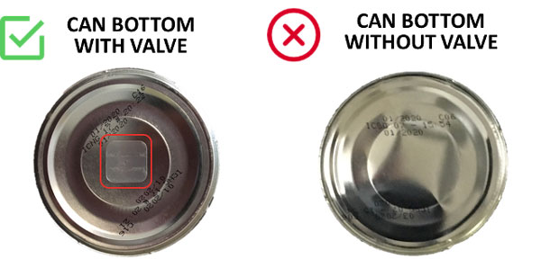 Can bottom with valve and without valve