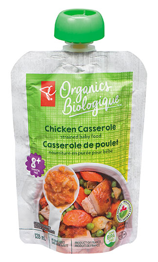 PC Organics Chicken Casserole strained baby food, 128 millilitres
