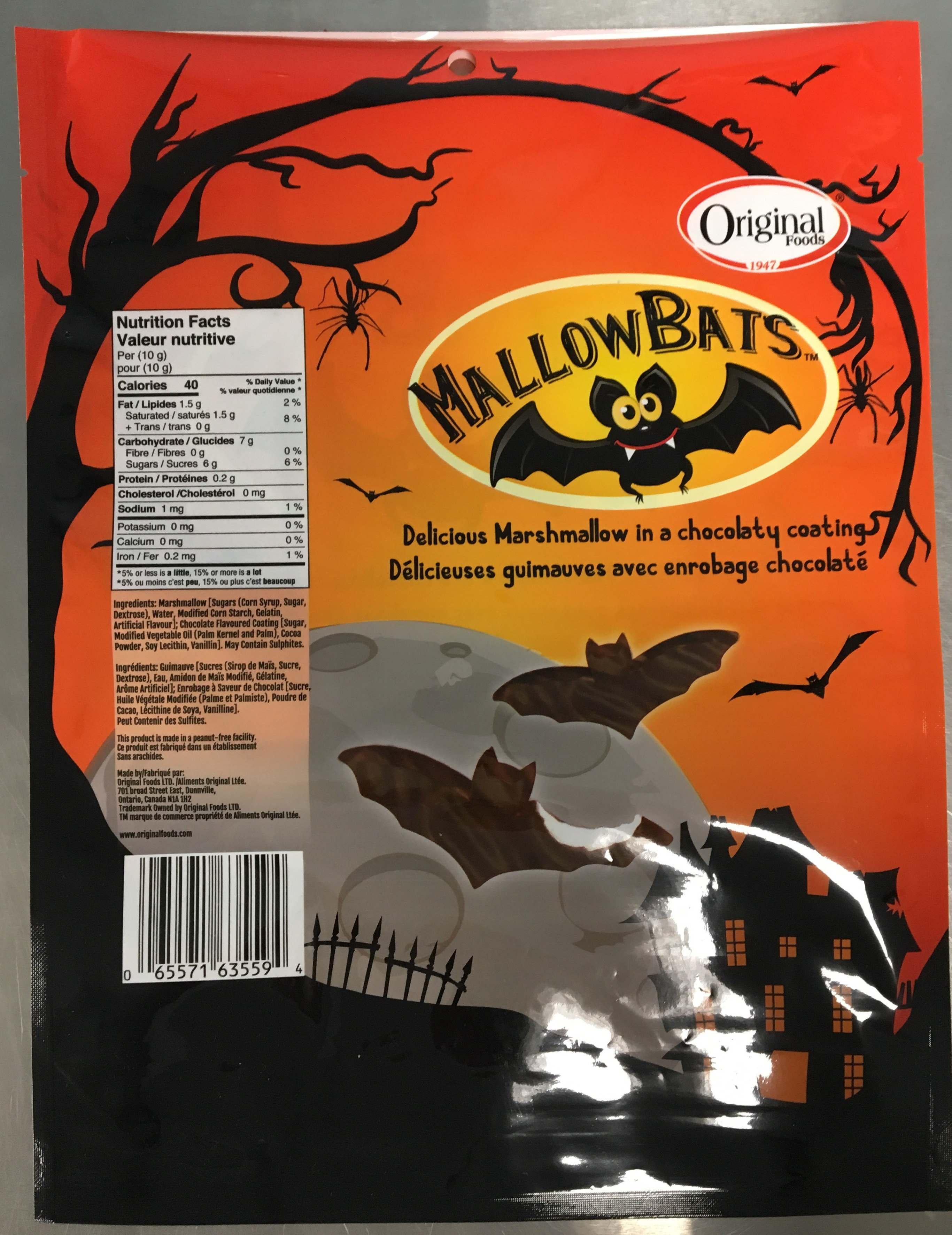 Original Food MallowBats, 200grams - back of packaging