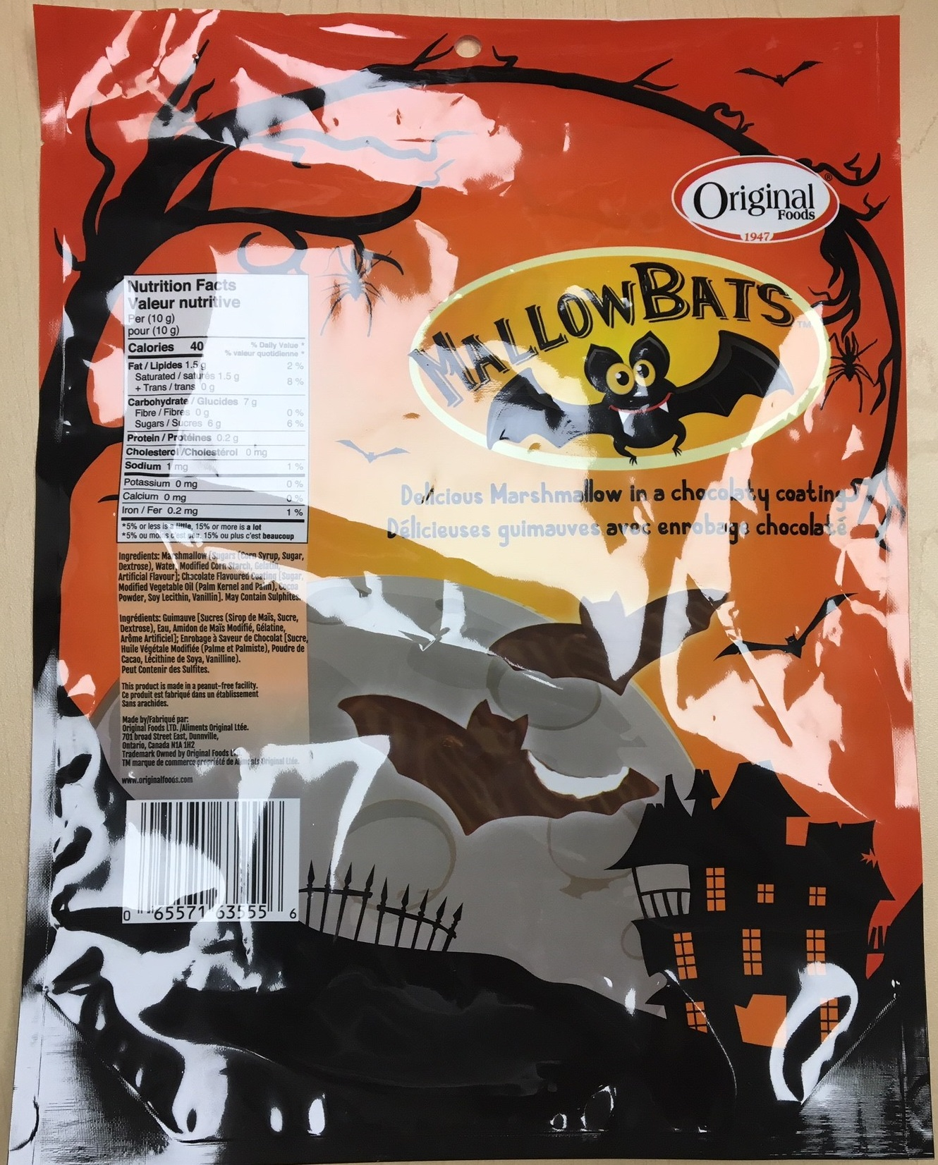 Original Food MallowBats, 250grams - back of packaging