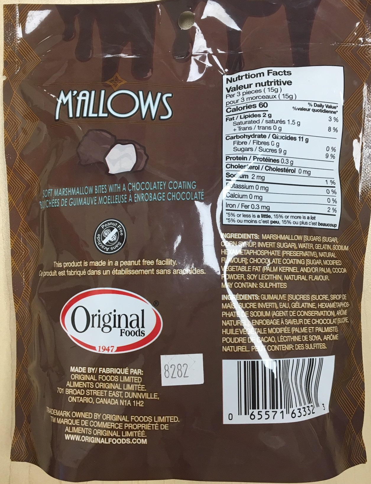 Original Food M'allows, 100grams - back of packaging