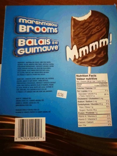 Original Foods - Marshmallow Brooms - outer box - back - 720 g