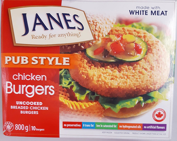 Janes: Pub Style Chicken Burgers – Uncooked Breaded Chicken Burgers: 800 grams