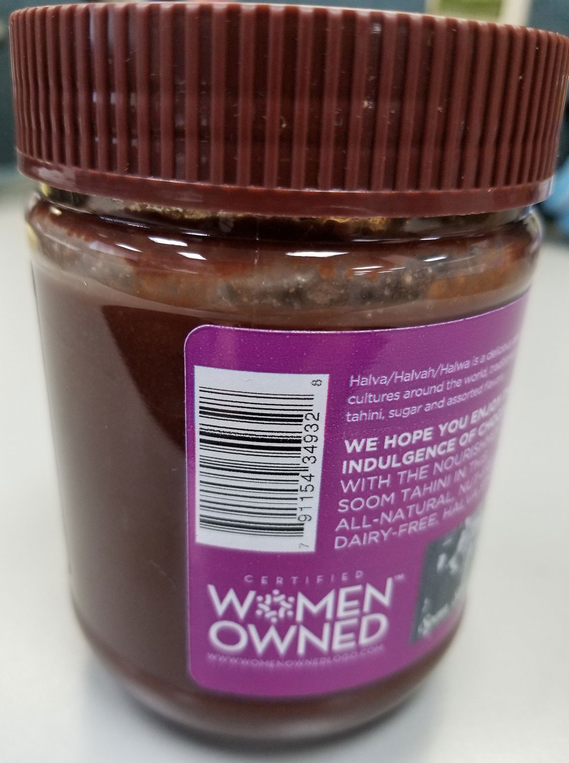 Soom Chocolate Sweet Tahini Halva Spread, 340 g - back