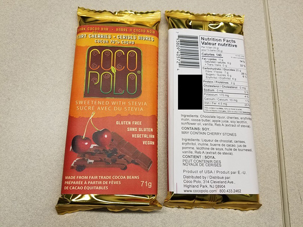 Coco Polo: Dark Cocoa Bar 70% with Tart Cherries - 71 grams