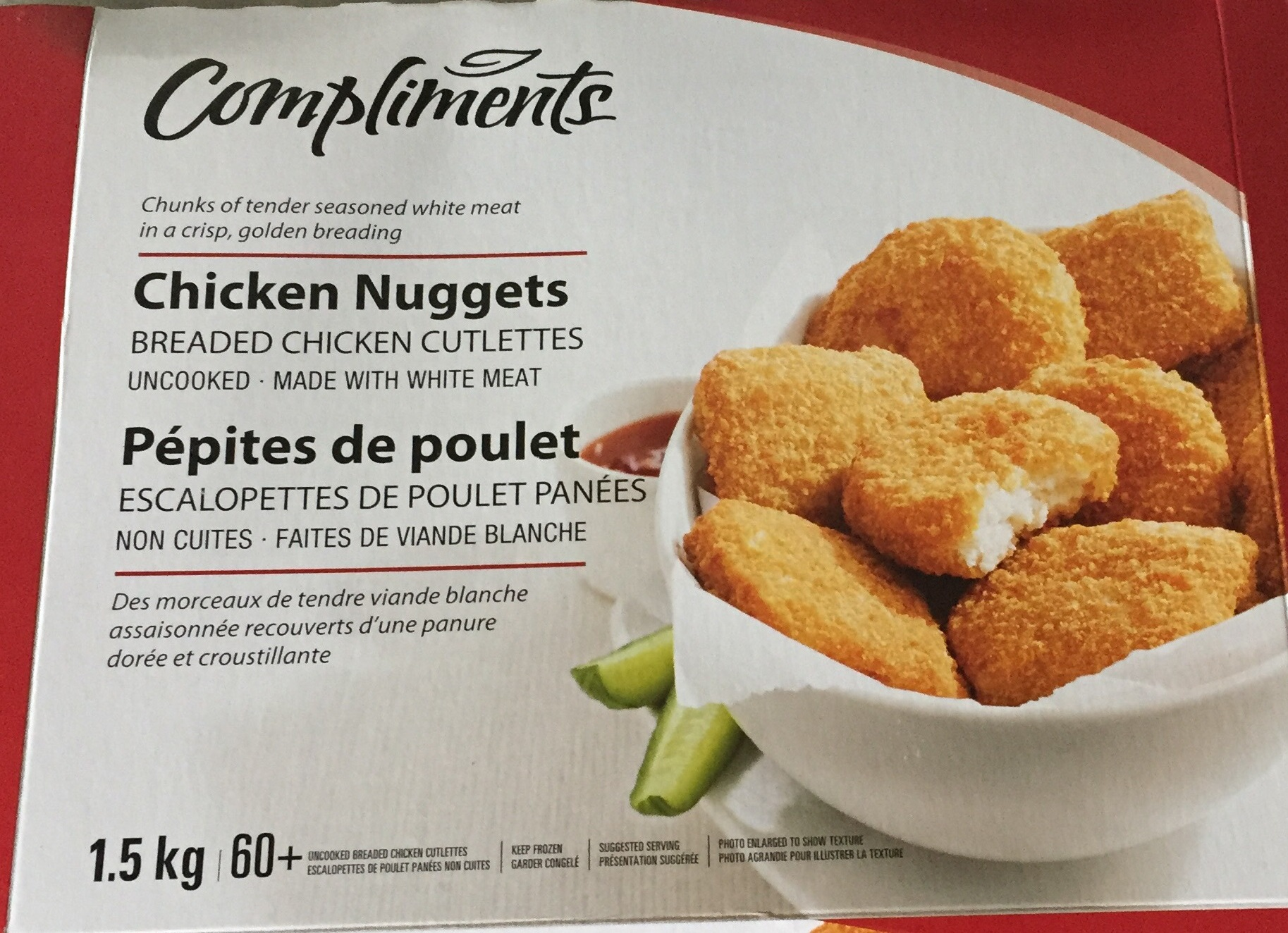 Compliments Chicken Nuggets, 2019 JL 18 - Outer box, front