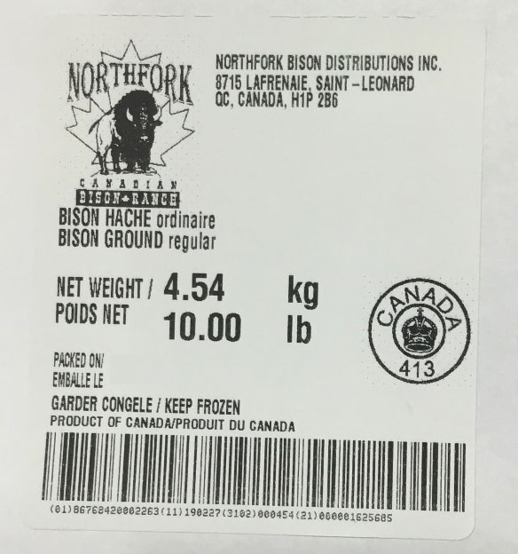 Northfork Canadian Bison Ranch - Bison ground regular - 4.54 kg /10 lb