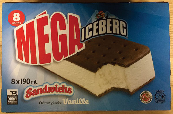 Iceberg – Mega Sandwiches Vanilla Ice Cream – 8 × 190 mL (front)