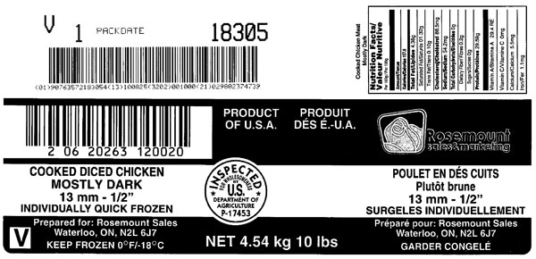 "Rosemount Cooked diced chicken mostly dark 13 mm - ½"" – 4.54 kg (outer label)"