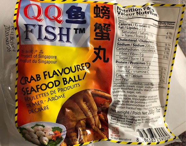 QQ Fish – Crab Flavoured Seafood Ball – 200 grams