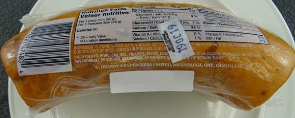 Brandt Extra Lean Kolbassa Sausage– 250 grams (back)