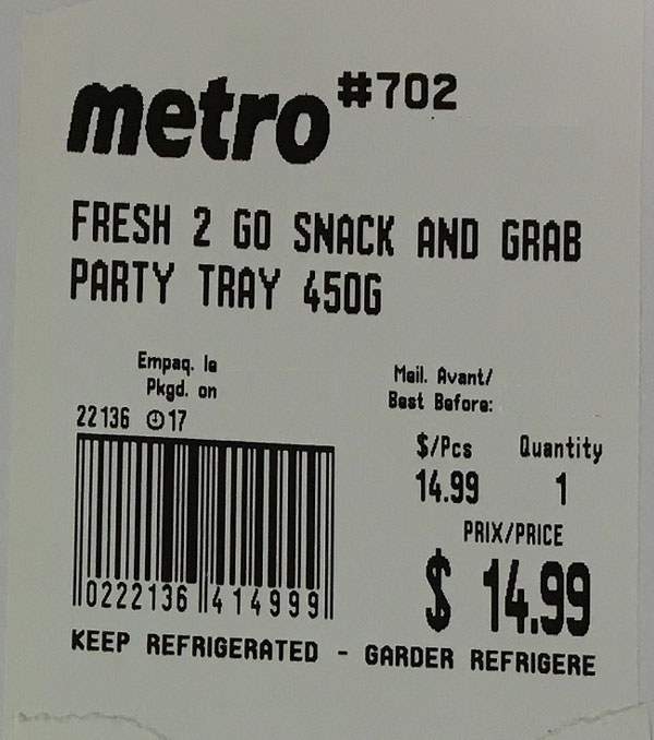 Metro « Fresh 2 Go Snack and Grab Party Tray » – 450 grammes