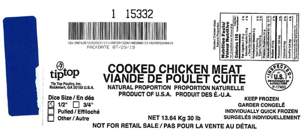 "Tip Top Poultry, Inc. Cooked Chicken Meat, Natural Proportion (1/2"" Diced) (#15332) – 13.64 kg"