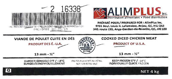 "AlimPlus Inc. Cooked Diced Chicken Meat – 13 mm – ½"" (#16338) – 4 kg"
