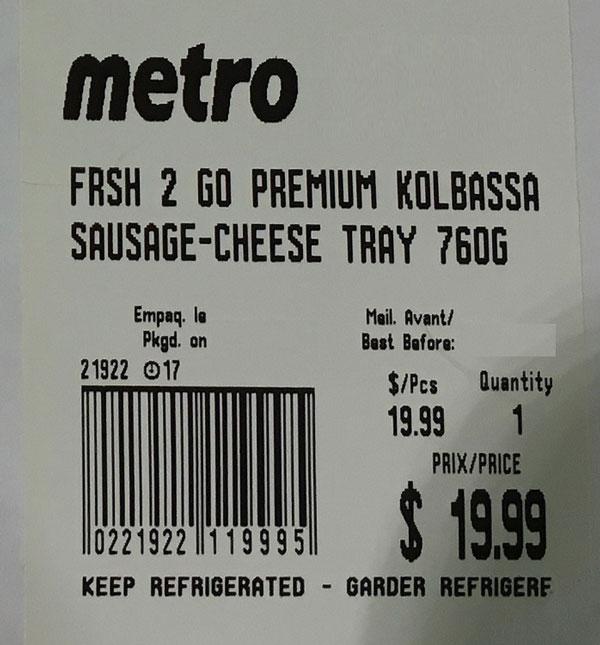 Metro Frsh 2 Go Premium Kolbassa Sausage-Cheese Tray– 760 grams