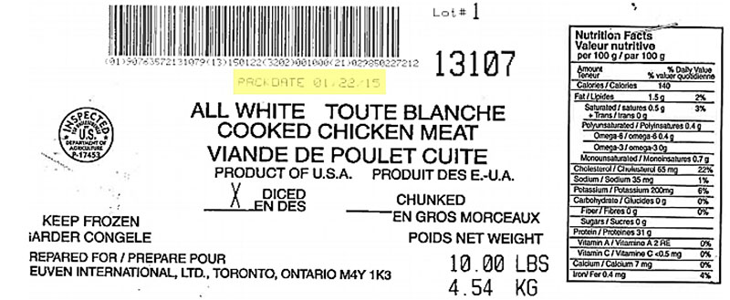 Reuven International Ltd - ll White Cooked Chicken Meat - Diced (#13107)