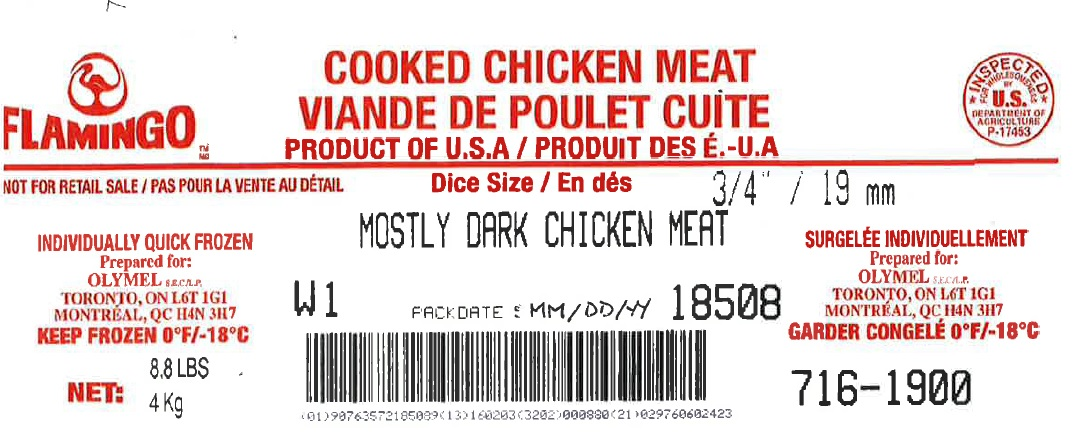 "Flamingo- Cooked Chicken Meat – Mostly Dark Chicken Meat Diced ¾"" /19 mm  (#716-1900)"