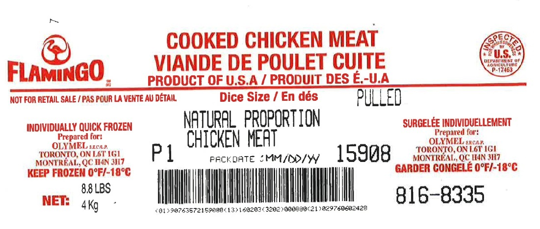 Flamingo- Cooked Chicken Meat – Pulled - Natural Proportion Chicken Meat (#816-8335)