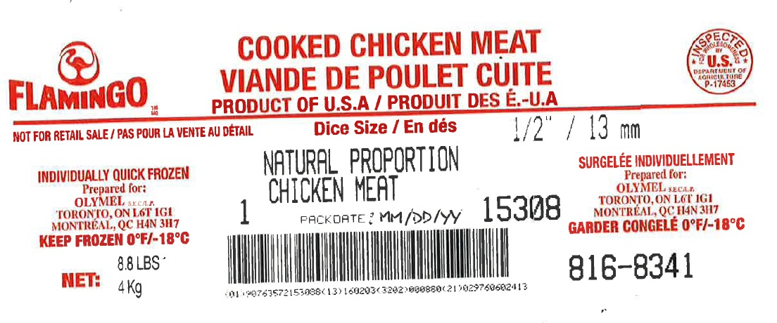 "Flamingo - Cooked Chicken Meat – Natural Proportion Chicken Meat  ½""/13mm Diced (#816-8341)"