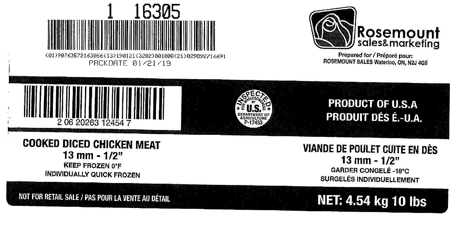 "Rosemount Sales & Marketing - Cooked Diced Chicken Meat – 13 mm – ½""  (#16305)"