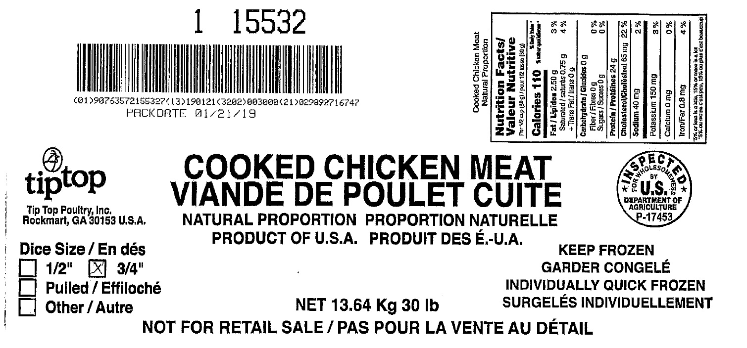"Tip Top Poultry, Inc - Cooked Chicken Meat Natural Proportion ¾"" Diced (#15532)"