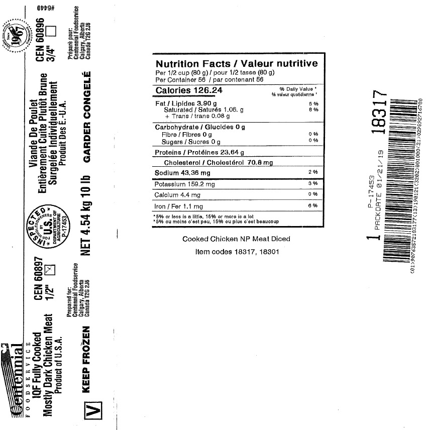 Centennial FoodService - IQF Fully Cooked Mostly Dark Chicken Meat (#18317)