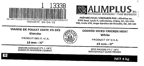 "AlimPlus Inc. - Cooked Diced Chicken Meat White 13mm – ½"" (#13338)"
