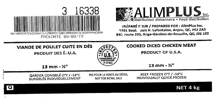 "AlimPlus Inc. - Cooked Diced Chicken Meat 13mm – ½"" (#16338)"
