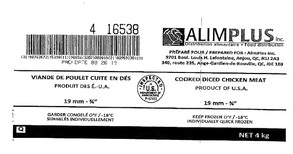 "Alimplus Inc. - Cooked Diced Chicken Meat 19 mm – ¾"" (#16538)"