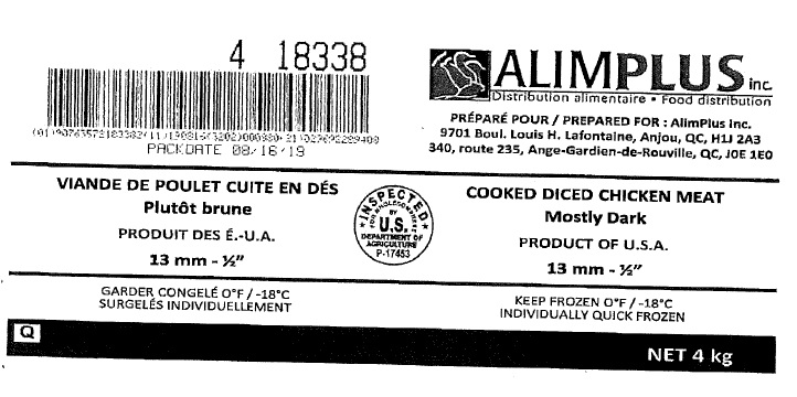 "Alimplus Inc. - Cooked Diced  Chicken Mostly Dark 13mm – ½"" (#18338)"