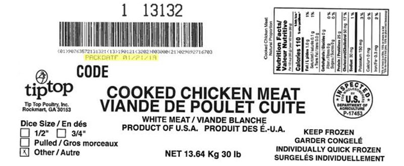 Tip Top Poultry Inc. - Cooked Chicken Meat (#13132)